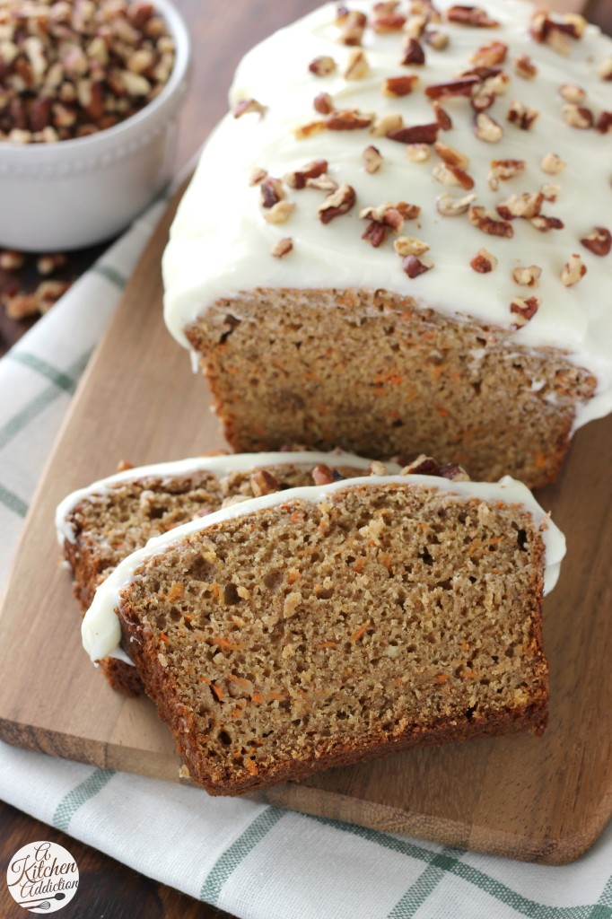 Carrot Cake Quick Bread with Cream Cheese Frosting l www.a-kitchen-addiction.com @akitchenaddict