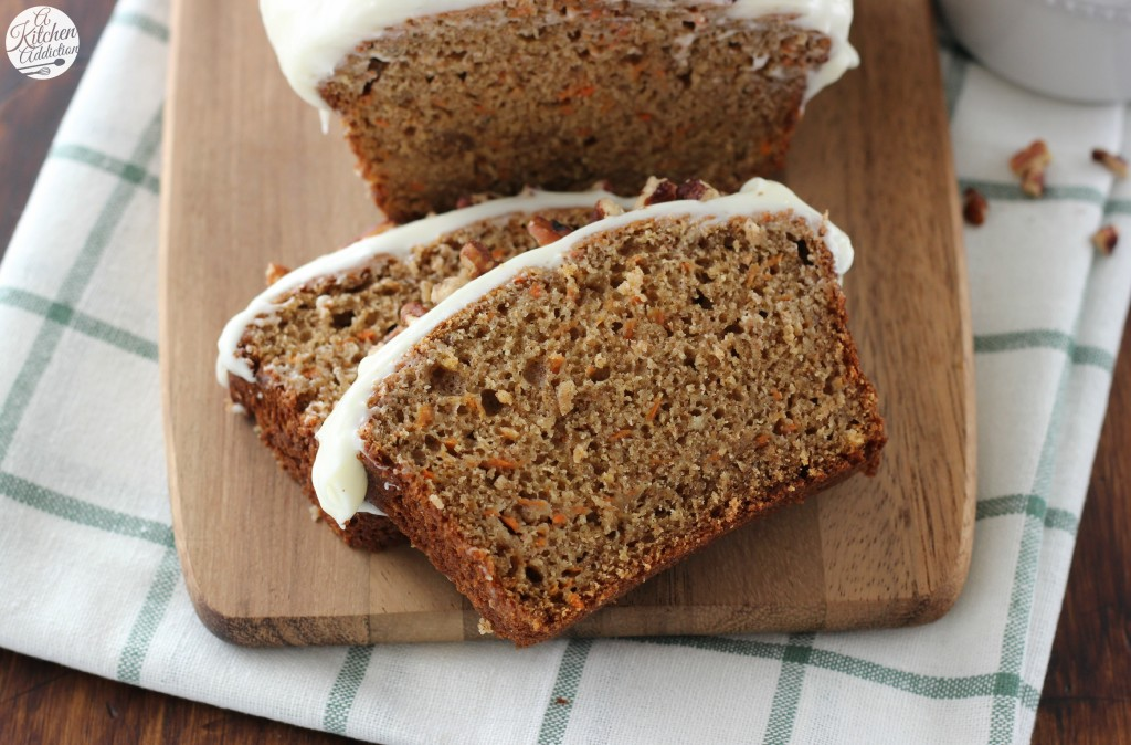 Carrot Cake Quick Bread with Cream Cheese Frosting Recipe from A Kitchen Addiction
