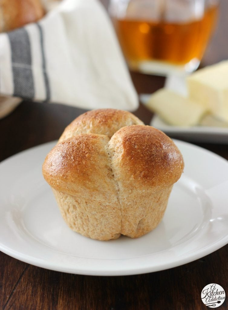 Easy Honey Wheat Cloverleaf Rolls Recipe from A Kitchen Addiction