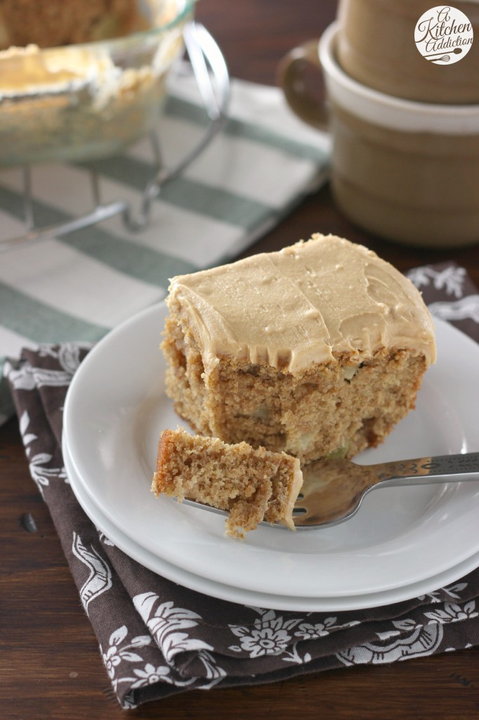 Peanut Butter Apple Snack Cake with Peanut Butter Frosting l www.a-kitchen-addiction.com
