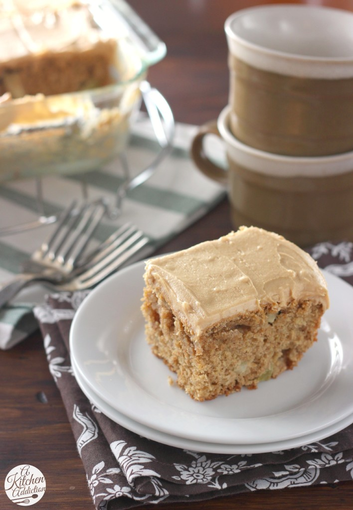Peanut Butter Apple Snack Cake with Peanut Butter Frosting Recipe l www.a-kitchen-addiction.com