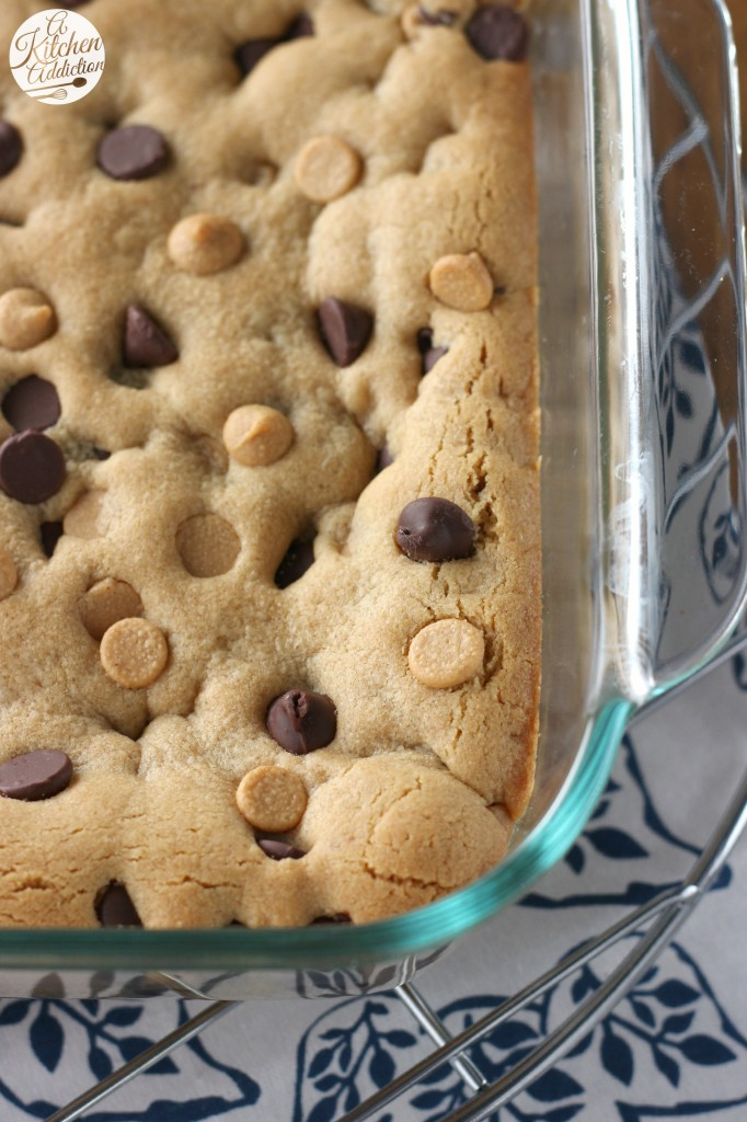 Peanut Butter Chocolate Malted Cookie Bars Recipe from A Kitchen Addiction