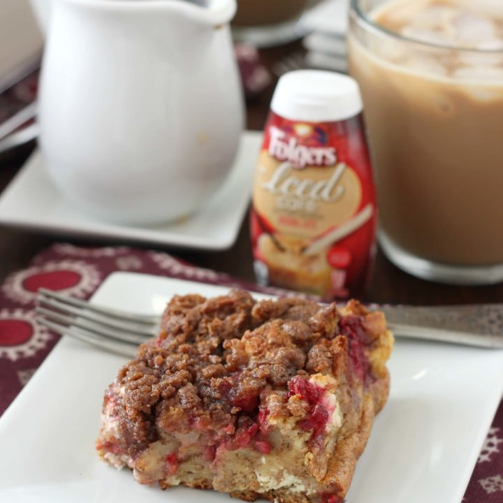 Raspberries and Cream French Toast Bake Recipe l www.a-kitchen-addiction.com #MyIcedCafe