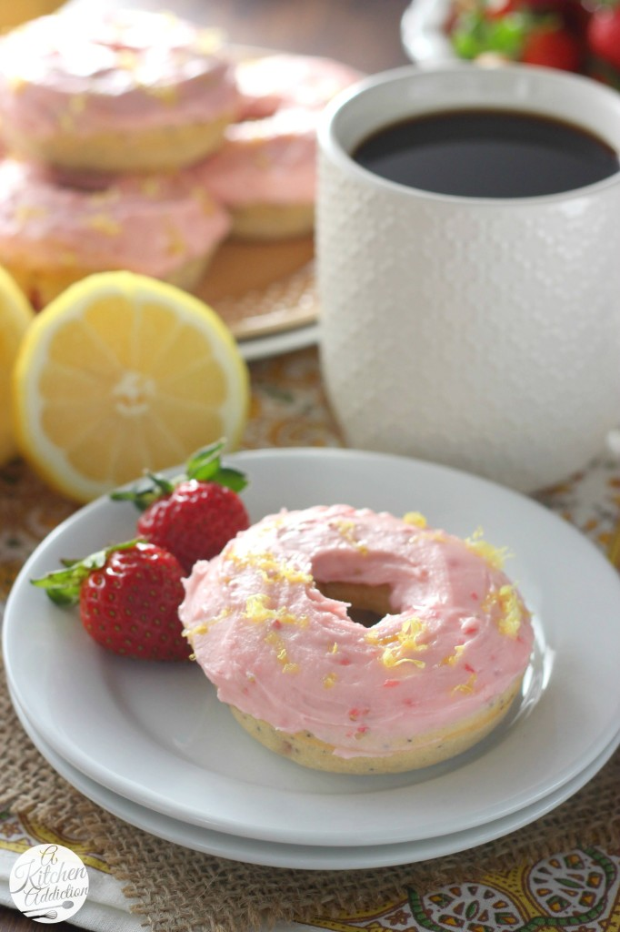 Strawberry Lemon Poppyseed Donuts Recipe l www.a-kitchen-addiction.com