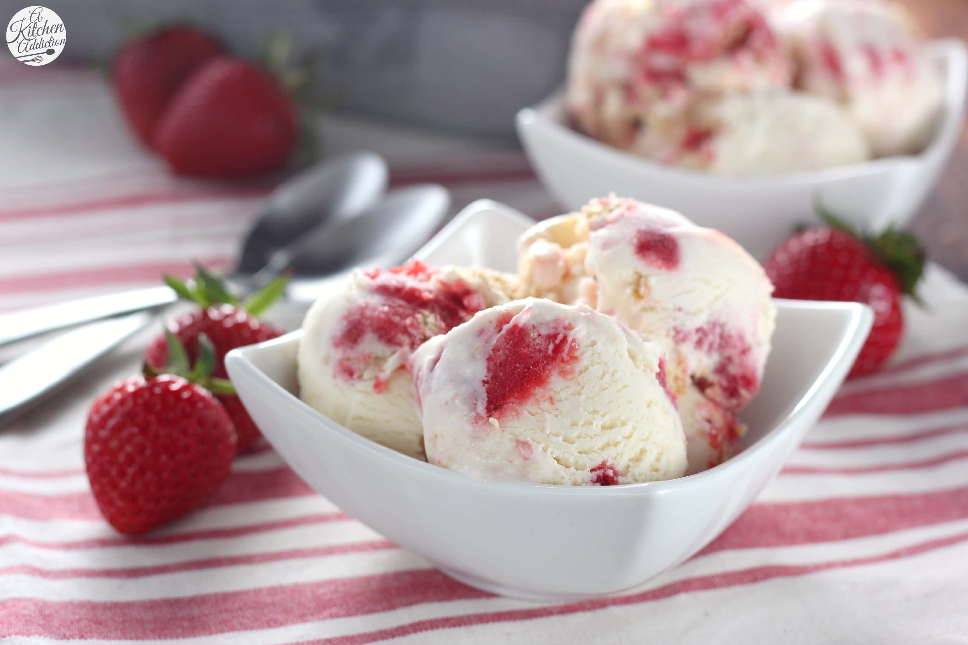 Strawberry Swirled Cheesecake Ice Cream Recipe l www.a-kitchen ...