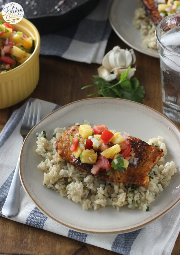 Pan Seared Blackened Cod with Fresh Pineapple Salsa l www.a-kitchen-addiction.com