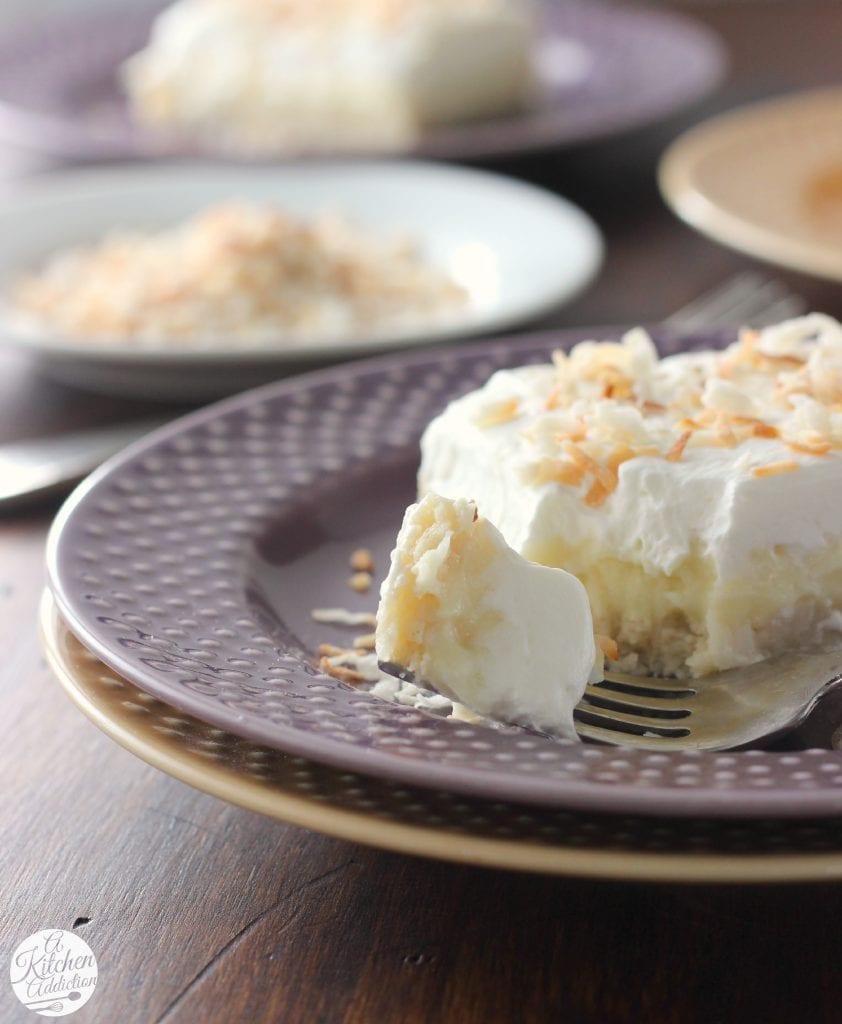 Coconut Cream Pie Bars Recipe from A Kitchen Addiction