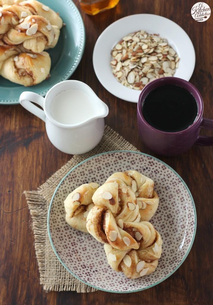 Honey Almond Cinnamon Twists Recipe l www.a-kitchen-addiction.com