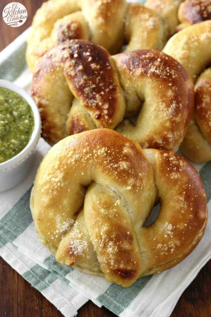 Pesto Parmesan Stuffed Soft Pretzels l www.a-kitchen-addiction.com