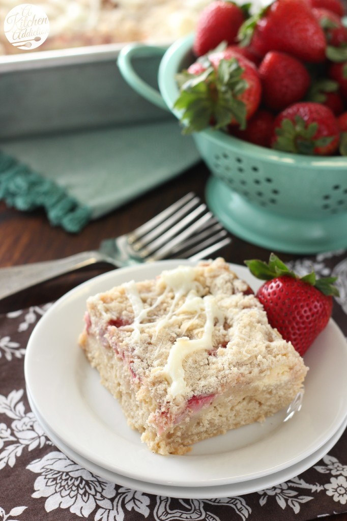 Strawberries and Cream Cheese Coffee Cake Recipe l www.a-kitchen-addiction.com