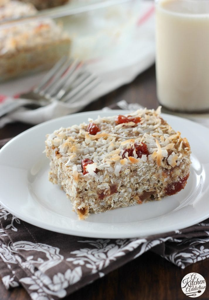 Healthy Soft Bake Strawberry Coconut Protein Bars www.a-kitchen-addiction.com