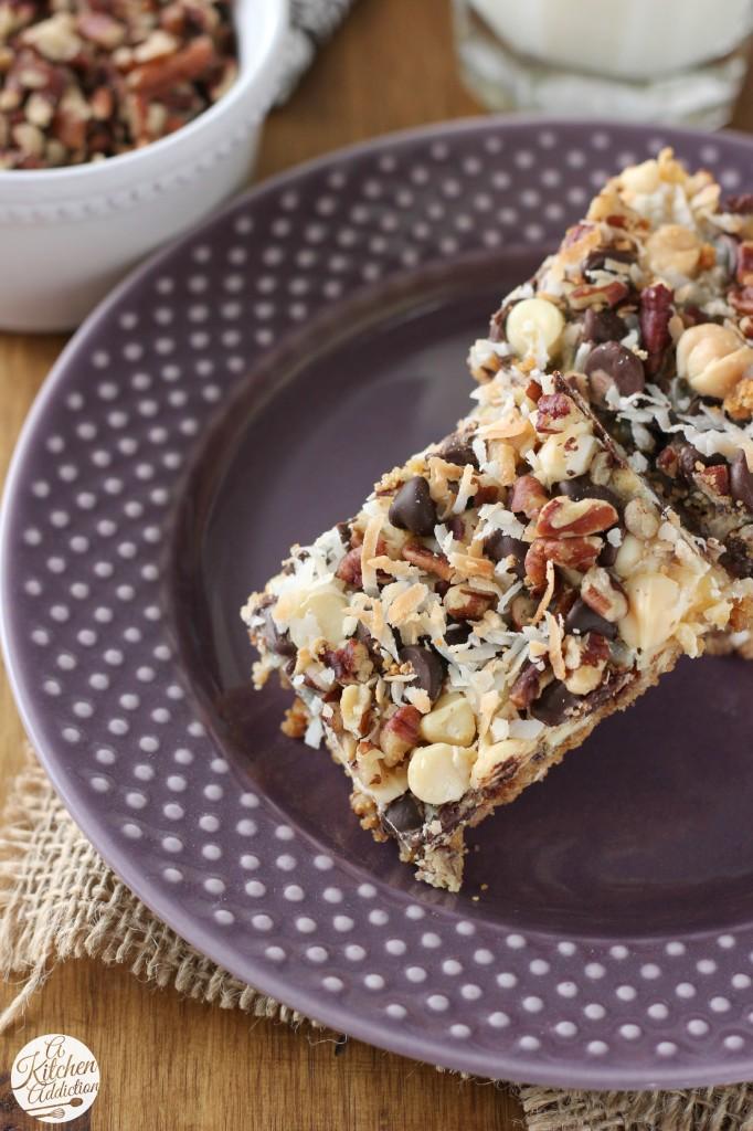 Easy Triple Chocolate Seven Layer Bars Recipe l www.a-kitchen-addiction.com