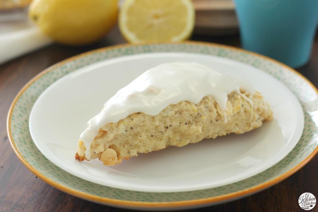White Chocolate Lemon Poppyseed Scones Recipe from A Kitchen Addiction