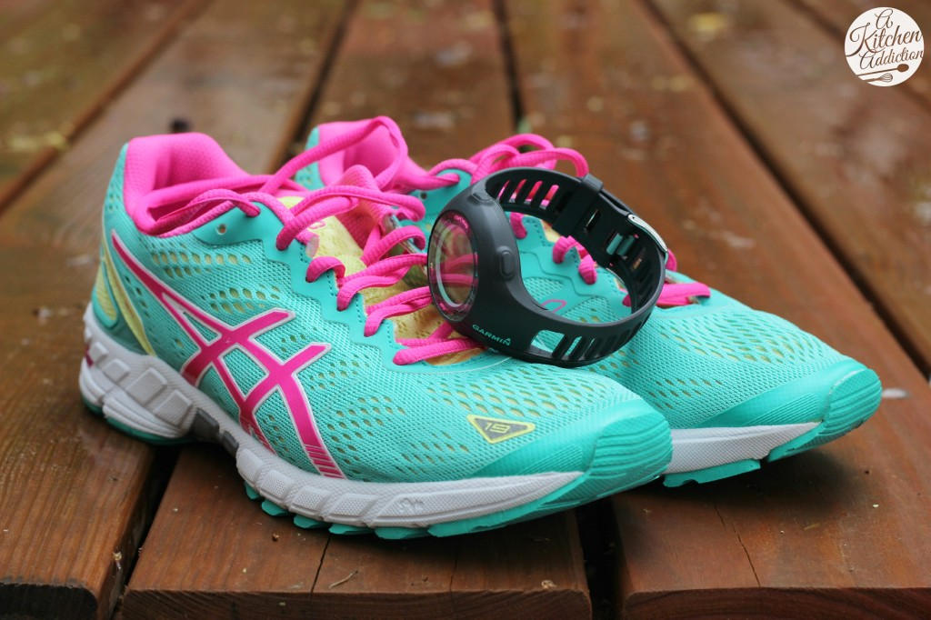 Asics Running Shoes and Garmin Watch