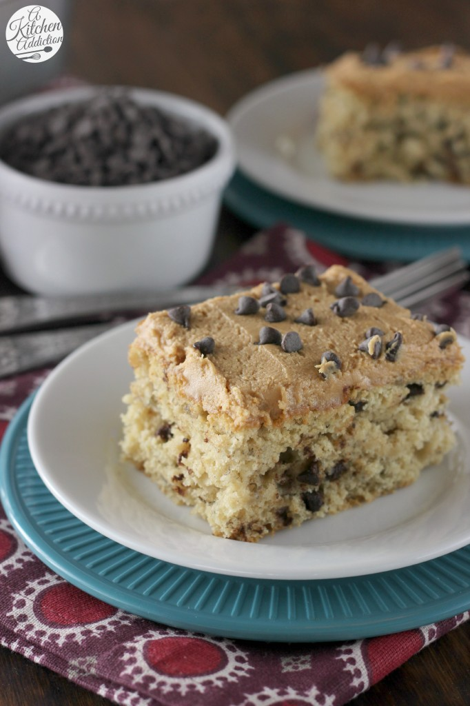 Banana Chocolate Chip Snack Cake with Peanut Butter Frosting Recipe from A Kitchen Addiction