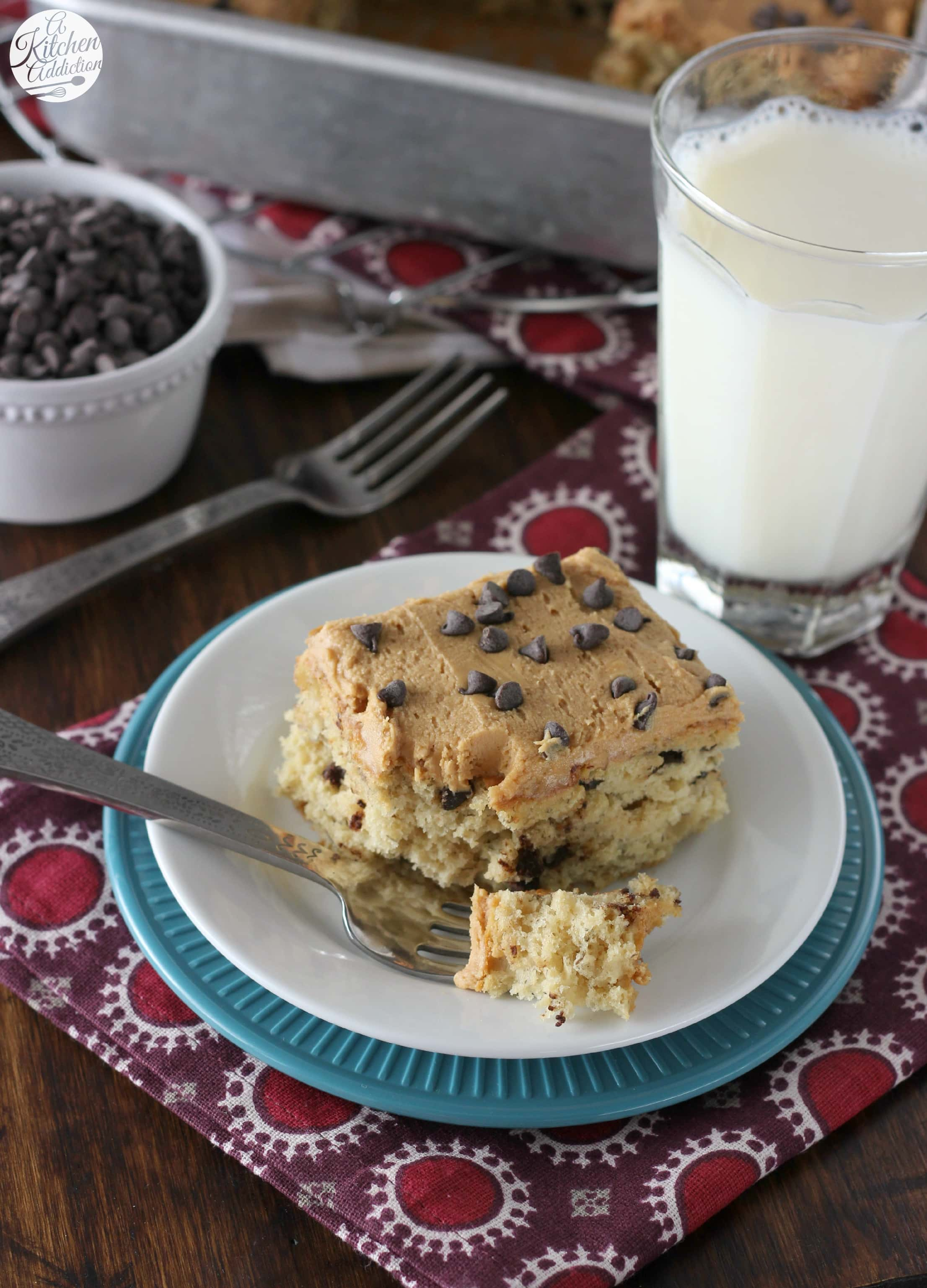 Banana Chocolate Chip Snack Cake with Peanut Butter Frosting l www.a ...
