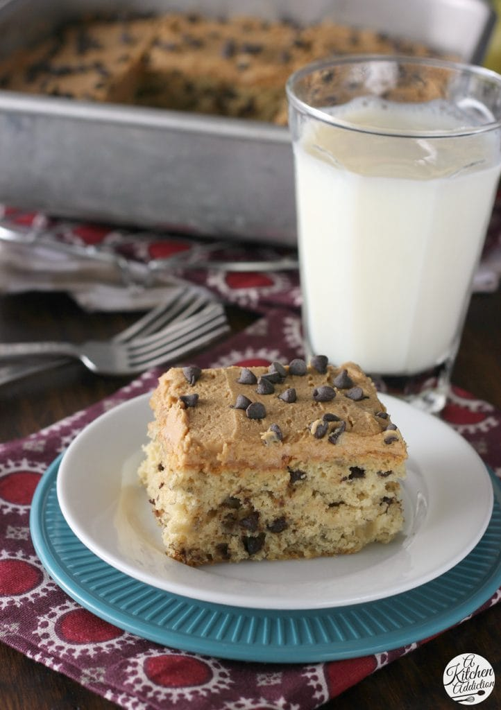 Peanut Butter Frosted Banana Chocolate Chip Snack Cake l www.a-kitchen-addiction.com