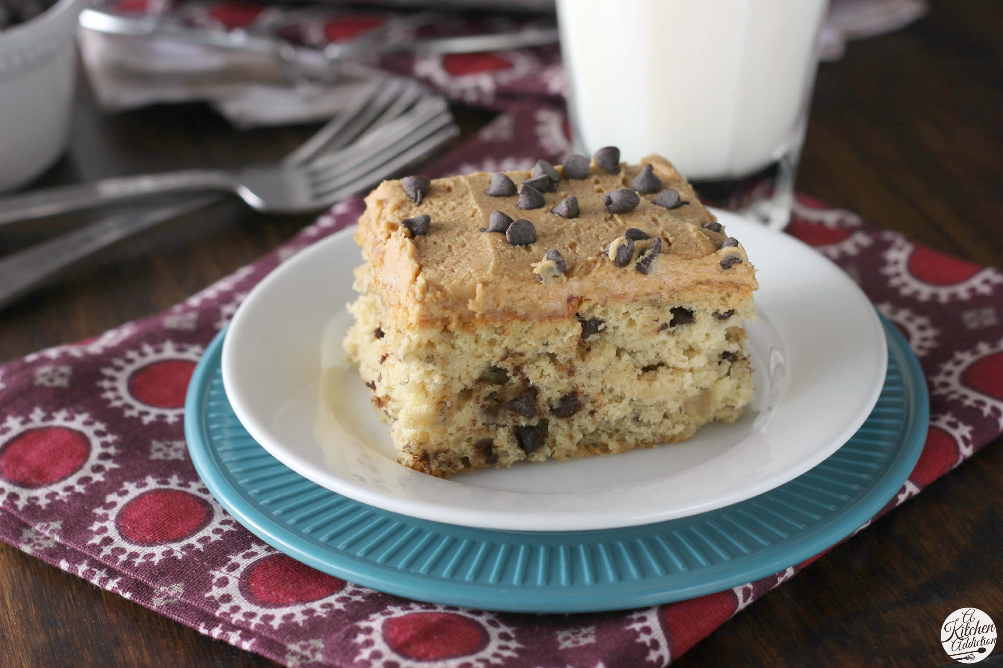 Banana Chocolate Chip Snack Cake with Peanut Butter Frosting - A ...