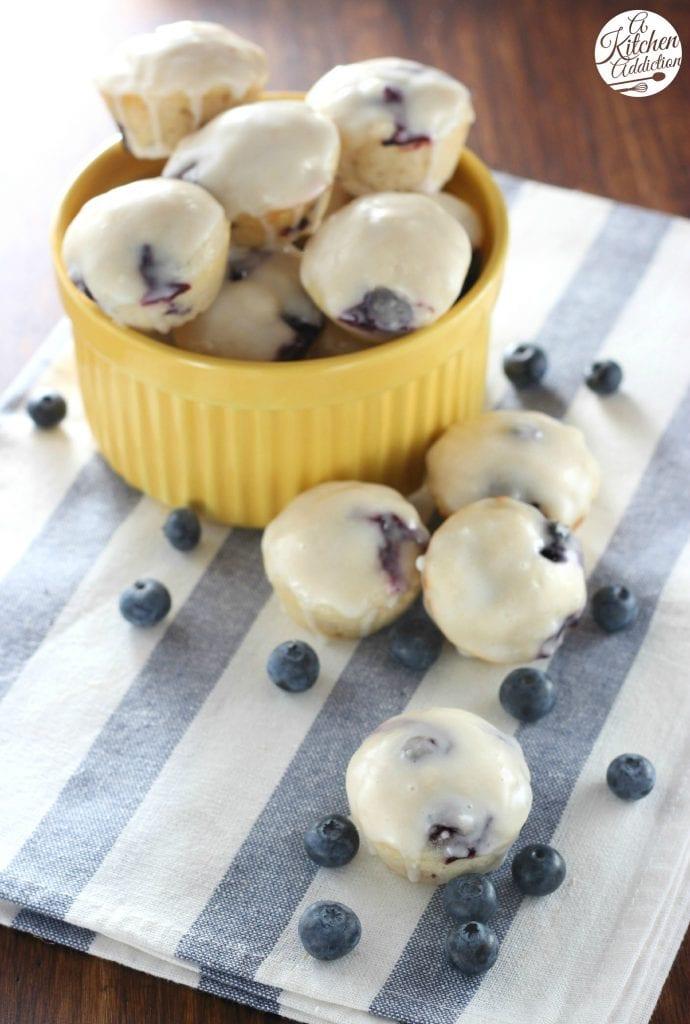 Glazed Blueberry Lemon Donut Muffins l www.a-kitchen-addiction.com