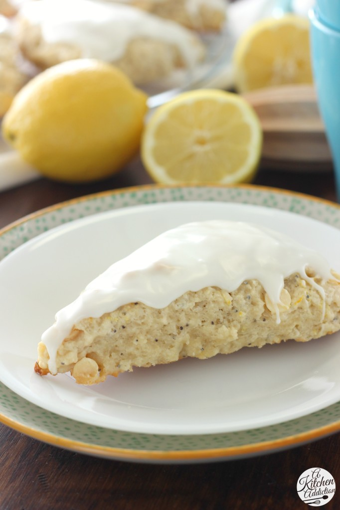 Glazed White Chocolate Lemon Poppyseed Scones l www.a-kitchen-addiction.com