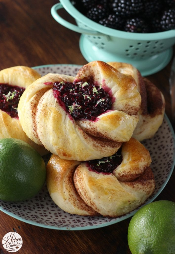 Blackberry Lime Cinnamon Twist Pastries from A Kitchen Addiction