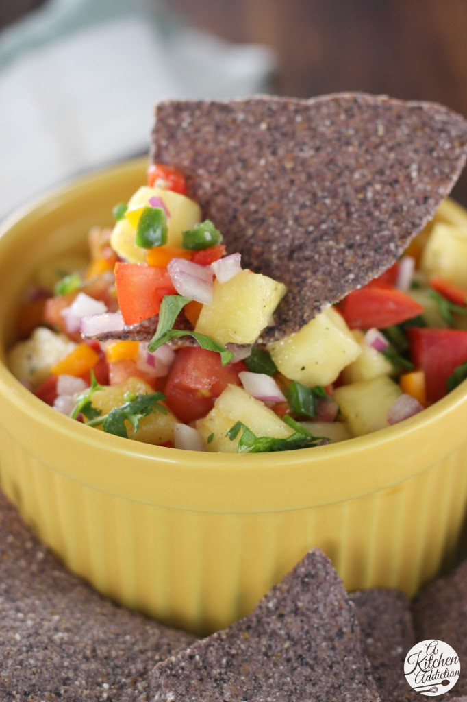 Fresh Pineapple Salsa from A Kitchen Addiction