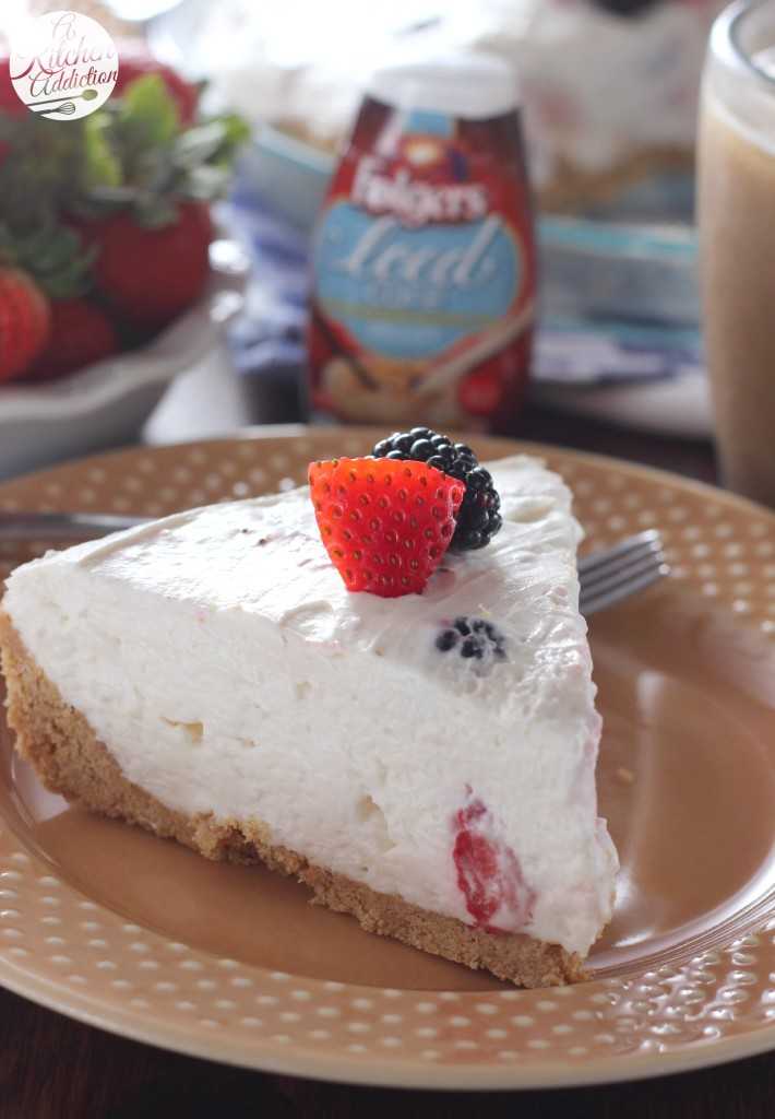 No Bake Berry Cream Pie Recipe from A Kitchen Addiction #myicedcafe
