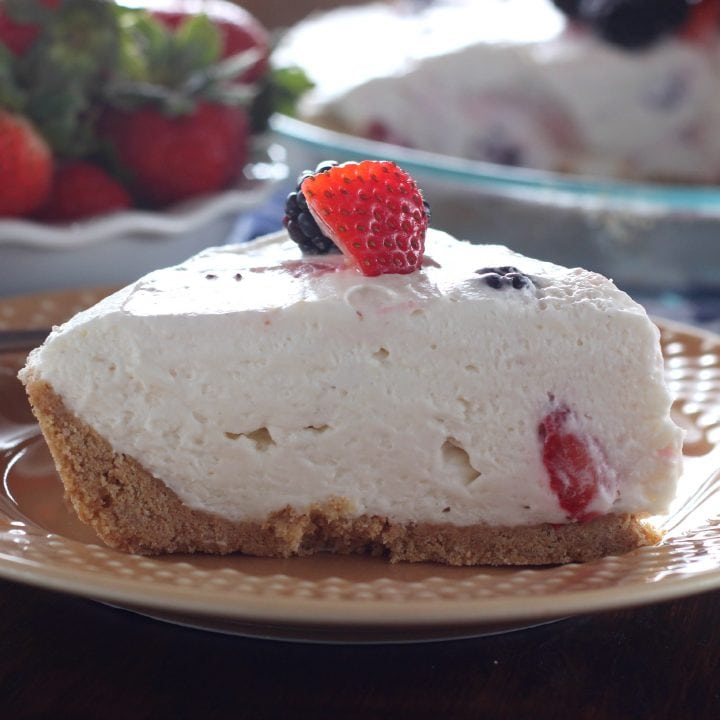 Easy No Bake Berry Cream Pie l www.a-kitchen-addiction.com