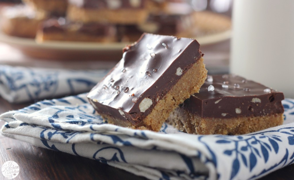 No Bake Salted Chocolate Almond Butter Bars l www.a-kitchen-addiction.com