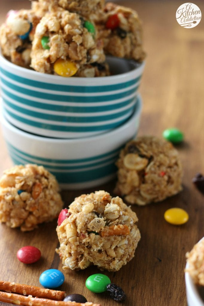 Peanut Butter Trail Mix Bites Recipe l www.a-kitchen-addiction.com