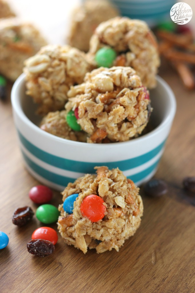 Easy Peanut Butter Trail Mix Bites from A Kitchen Addiction