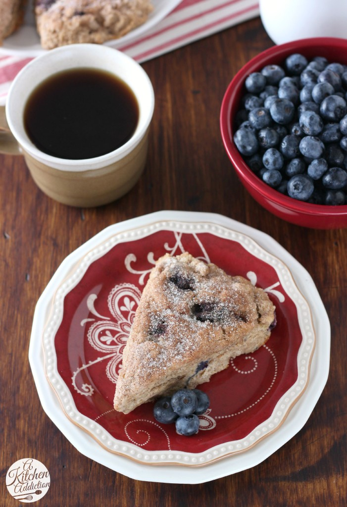 Blueberry Cinnamon Sugar Scones from A Kitchen Addiction