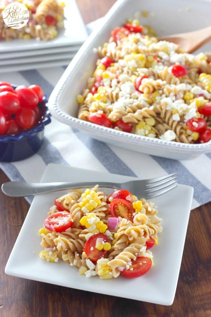Fresh Summer Corn and Tomato Pasta Salad l www.a-kitchen-addiction.com