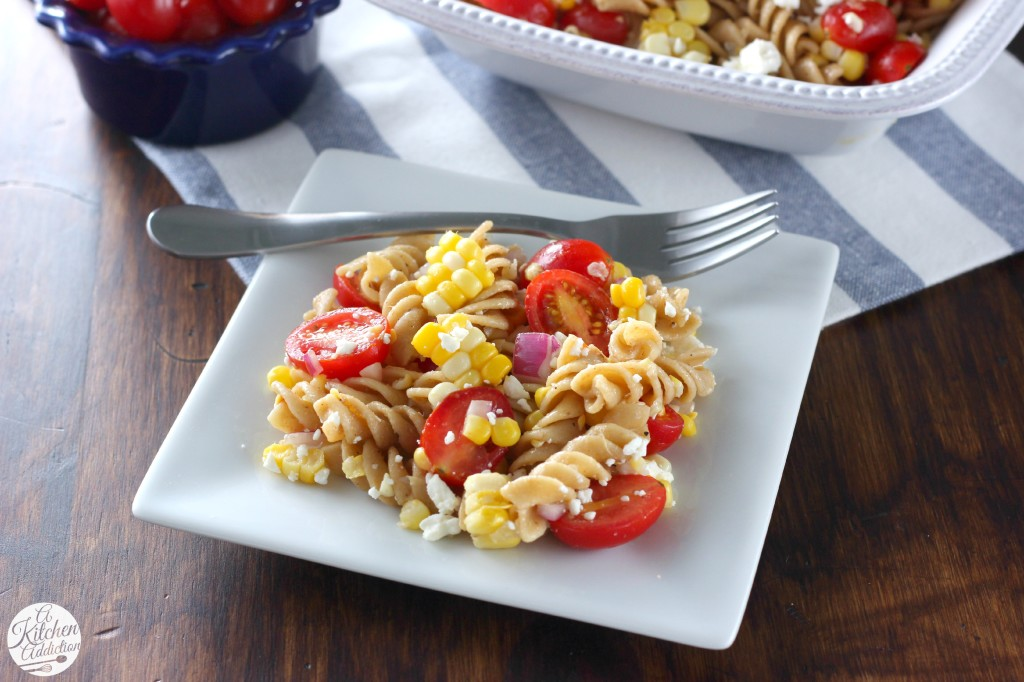 Fresh Corn and Tomato Pasta Salad Recipe from A Kitchen Addiction