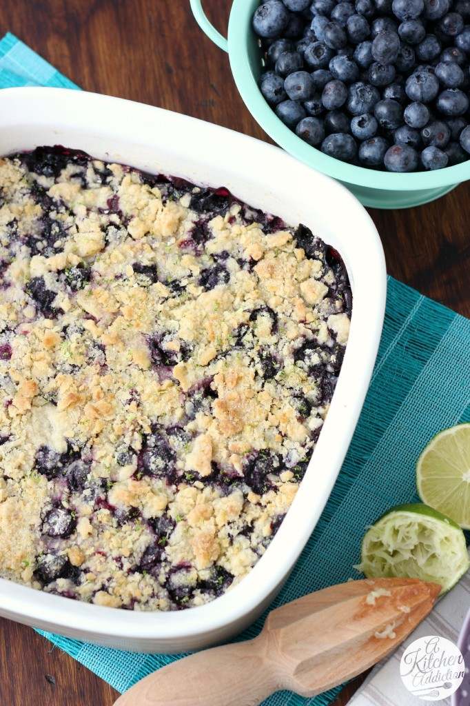 Quick and Easy Blueberry Lime Crumb Bars from A Kitchen Addiction