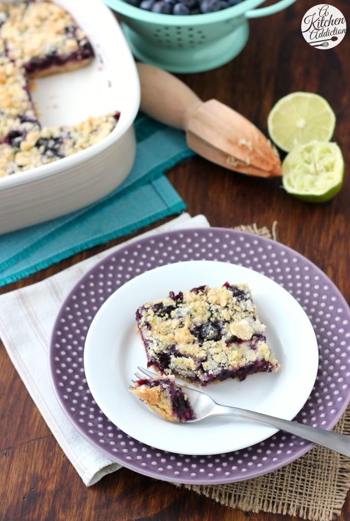 Blueberry Lime Crumb Bars Recipe l www.a-kitchen-addiction.com