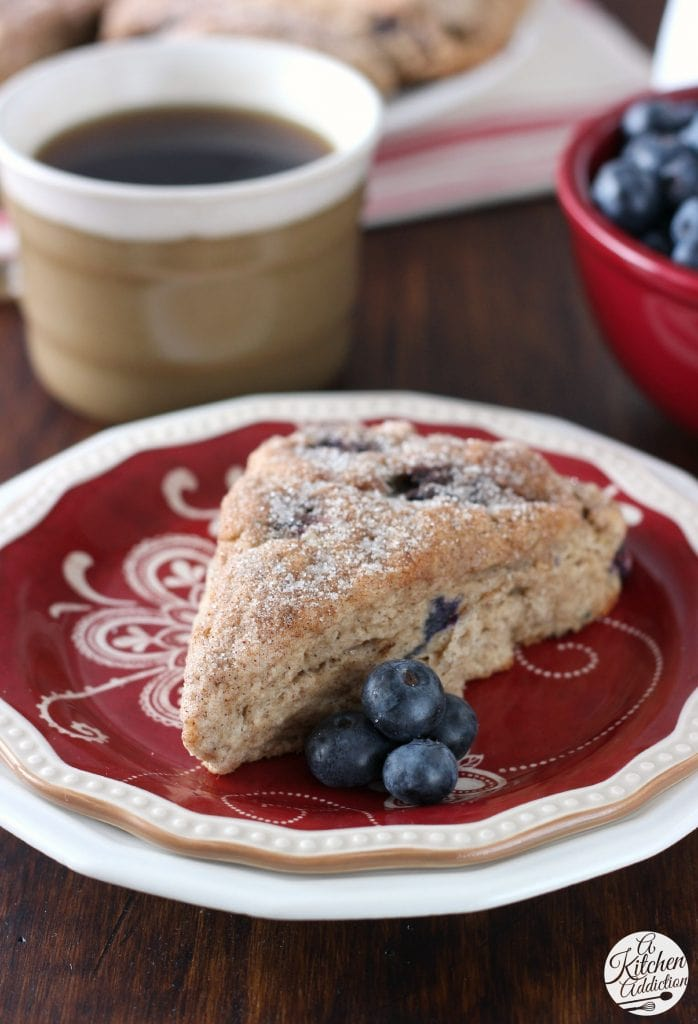 Blueberry Snickerdoodle Scones Recipe l www.a-kitchen-addiction.com