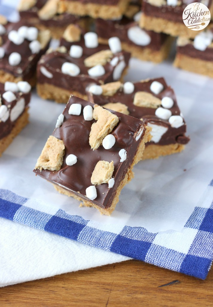No Bake Dark Chocolate Peanut Butter Smores Bars Recipe from A Kitchen Addiction