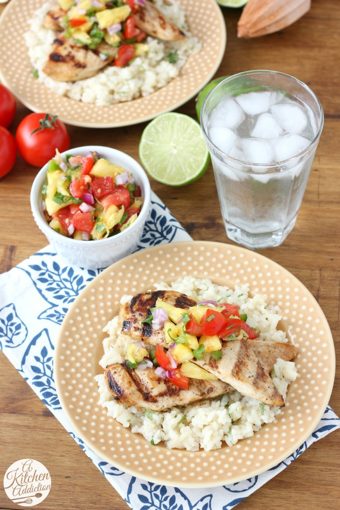Easy Grilled Agave Lime Chicken with Pineapple Salsa l www.a-kitchen-addiction.com