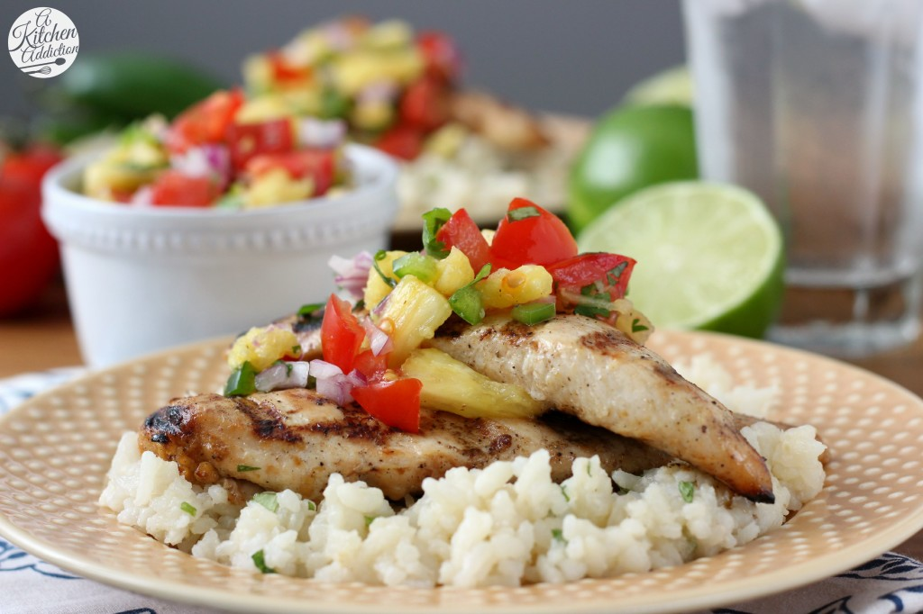 Grilled Agave Lime Chicken with Pineapple Salsa l www.a-kitchen-addiction.com
