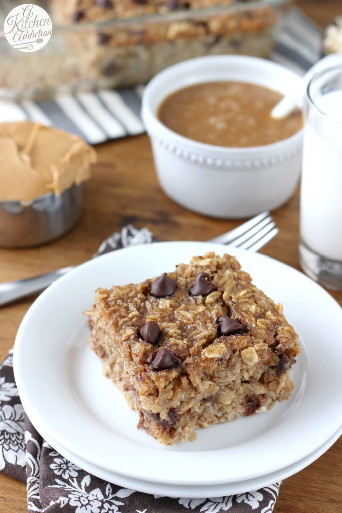 Peanut Butter Chocolate Chip Banana Bread Baked Oatmeal with Peanut Butter Syrup Recipe from A Kitchen Addiction