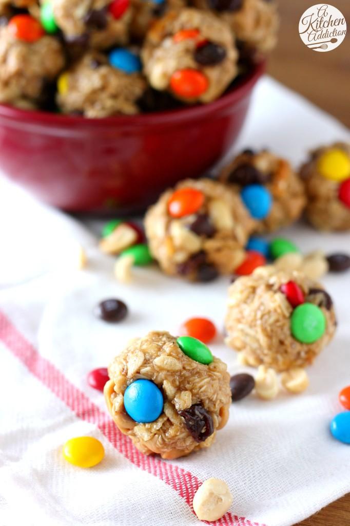 Peanut Butter Chocolate Trail Mix Bites l www.a-kitchen-addiction.com