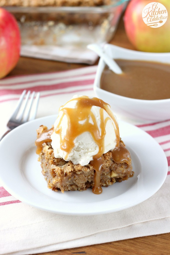 Salted Caramel Apple Oatmeal Cookie Bars from A Kitchen Addiction