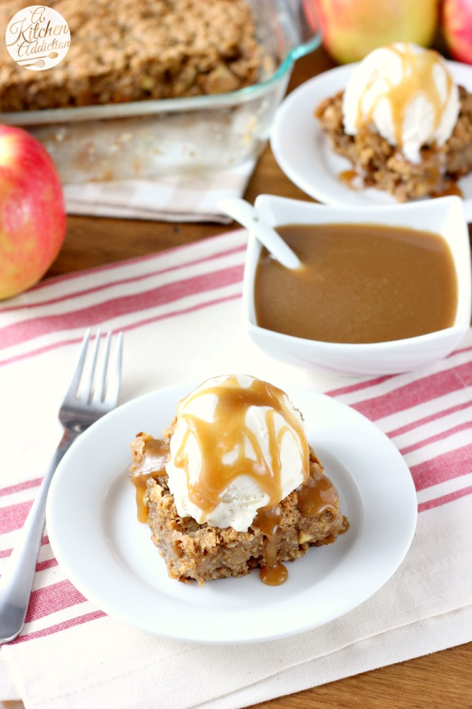 Salted Caramel Apple Oatmeal Cookie Bars Recipe l www.a-kitchen-addiction.com
