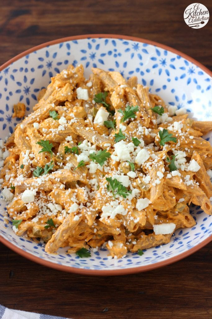 Healthier Buffalo Chicken Penne recipe from A Kitchen Addiction