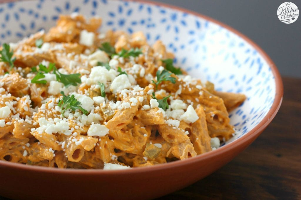 Lightened Up Buffalo Chicken Penne Recipe from A Kitchen Addiction
