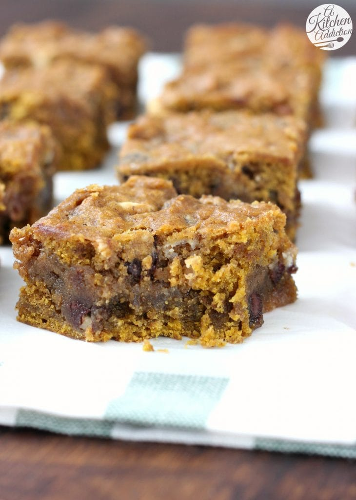Loaded Salted Caramel Pumpkin Bars from A Kitchen Addiction