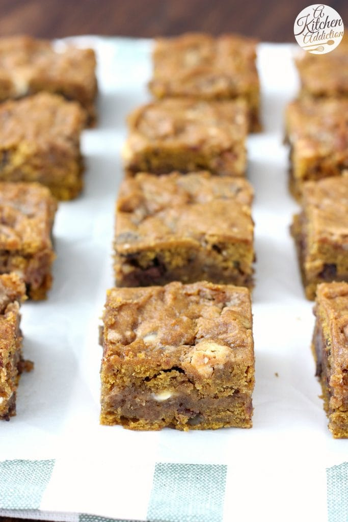 Loaded Salted Caramel Pumpkin Bars Recipe from A Kitchen Addiction