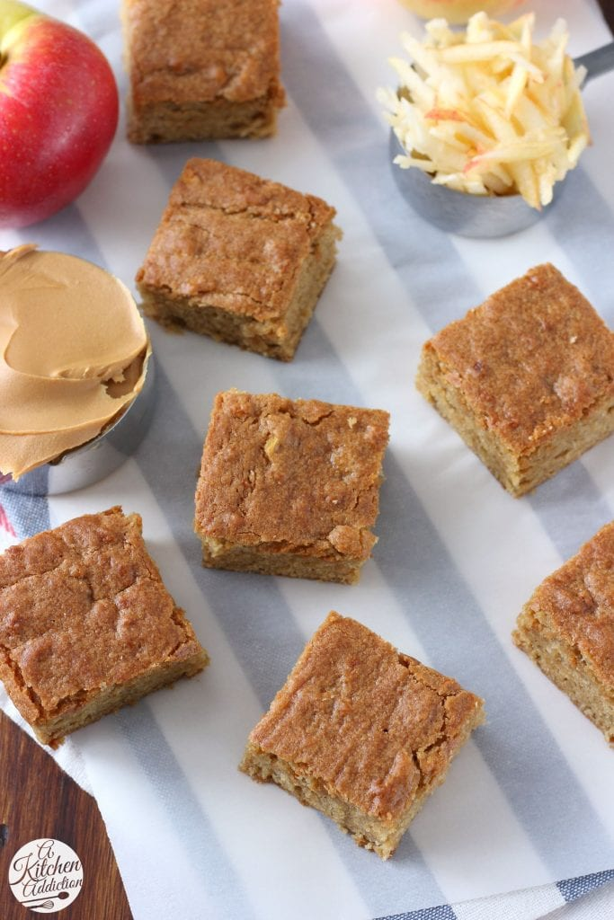 Easy Chewy Peanut Butter Apple Bars from A Kitchen Addiction @akitchenaddict