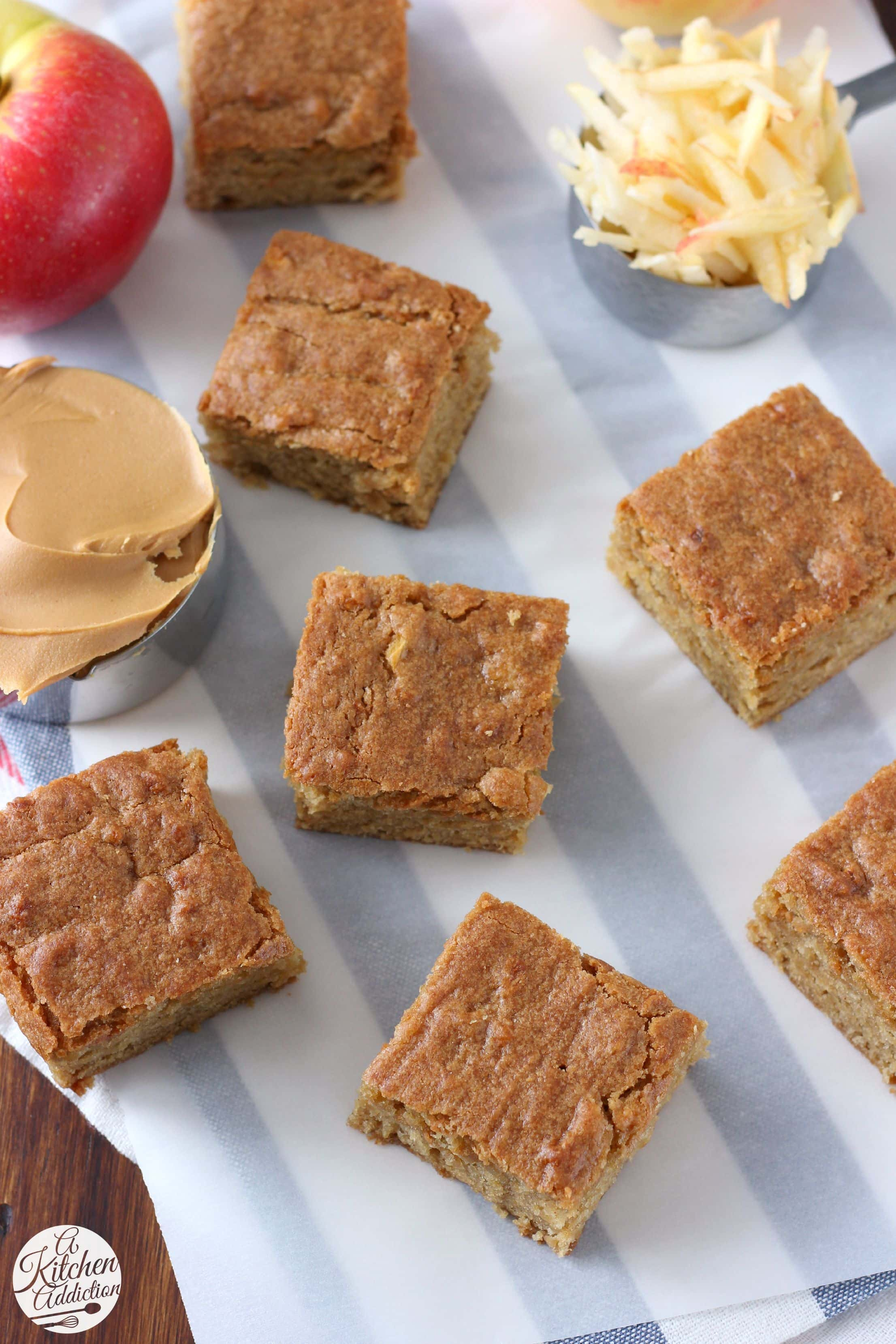 Easy Chewy Peanut Butter Apple Bars from A Kitchen Addiction @ ...